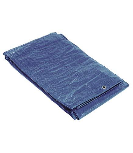 SATURNIA 15070020 Impermeable Reforzada 5x8 (Aproximadamente) con Ojetes Metálicos, Lona de Protección Duradera, Color Azul, 5 x 8 metros