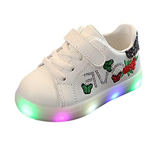 20 zapatillas de deporte LED para niñas, zapatillas luminosas, zapatos para niños, bordados, zapatillas de gimnasia con cierre de velcro, zapatillas para niños, luz exterior, antideslizantes