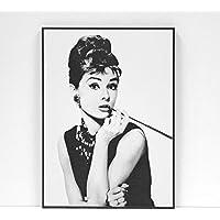 BaikalGallery Audrey Hepburn - Cuadro Enmarcado (M1038) MOLDURA DE Aluminio NEGRODE 1,5CM- Montaje EN Panel Adhesivo Y Ligero (Foam)- Laminado EN Mate (SIN Cristal) (45x60cm)