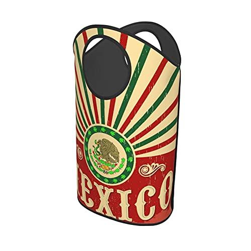 Cesti portaoggetti grandi,Decorazione vintage per la festa messicana pa, Cesto portabiancheria portatile pieghevole rotondo impermeabile per vestiti sporchi Toy Home Office 16,5 'X 27,5'