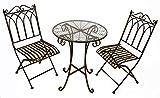 GeKi Trend Edles Bistro Set aus Eisen Antik Jugenstil Balkon Garten Tisch mit Glasplatte und 2 Stühlen antik-braun hochwertig