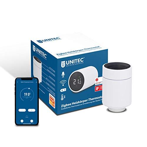 UNITEC Smart Heizkörper-Thermostat Erweiterung mit LCD Display, kompatibel mit Amazon Alexa und Hey Google