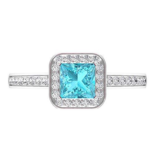 Anillo de topacio azul suizo de 5 mm de corte princesa, anillo de halo de diamante HI-SI con piedras laterales, 14K Oro blanco, topacio azul - suizo, Size:EU 55