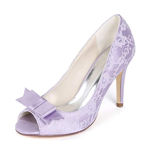 Creativesugar Women's lace Heels, Open Toe with Bow Sweet Wedding Shoes, Bridal Bridesmaid Dress Prom Pumps (7, Lavender)