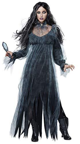Emin Damen Gothic Kleid Sexy Spitze Tüll Geisterbraut Zombiekostüm Kostüm Halloween Karneval Party Fasching Cosplay Verkleiden Horror Vampir Teufel Zombie Braut Brautkleid Erwachsenen Brautschleier