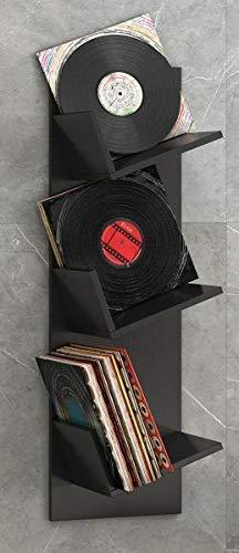 VCM Regal Schallplatten Möbel LP Aufbwahrung Archivierung Wandregal Hängeregal Holz Schwarz 106 x 33 x 26 cm