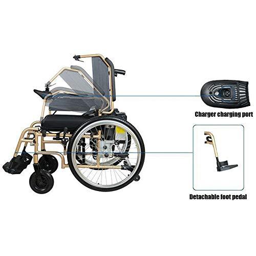 Onbekend vouwbare elektrische rolstoel, opvouwbaar, draagbaar, met elektromagnetische rem, intelligente PG-besturing, elektrische rolstoel, goud, 200 W * 2 voor mindervaliden ouderen