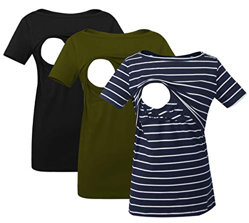 Smallshow Women's Nursing Top Striped Short Sleeve Breastfeeding Comfy T-Shirt 3-Pack Black/Army Green/Navy Stripe Medium
