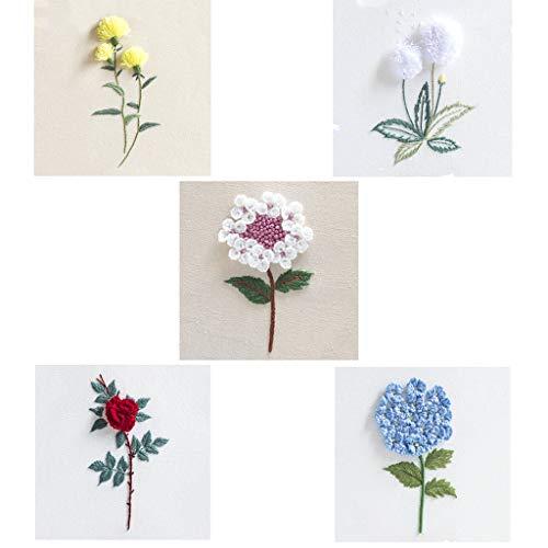 oshhni 5 Juegos de Kits de Bordados Y Tocones Hermosas Flores en 3D