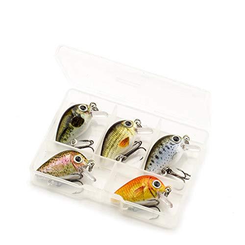 Njord Kalastus Mini Wobbler Set für Forelle, Barsch, Hecht, Döbel, Zander extra klein nur 2,6cm lang und 2g schwer Forellenwobbler Crankbait (5er Box Schwimmend 4)