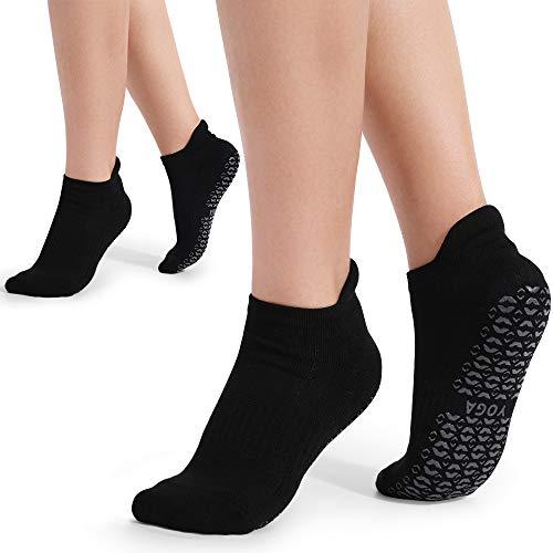 2 Paar Anti-Rutsch Atmungsaktivität Yoga Socken Damen für Yoga Pilates Tanz Zumba Fitness Sport Workout (Schwarz)