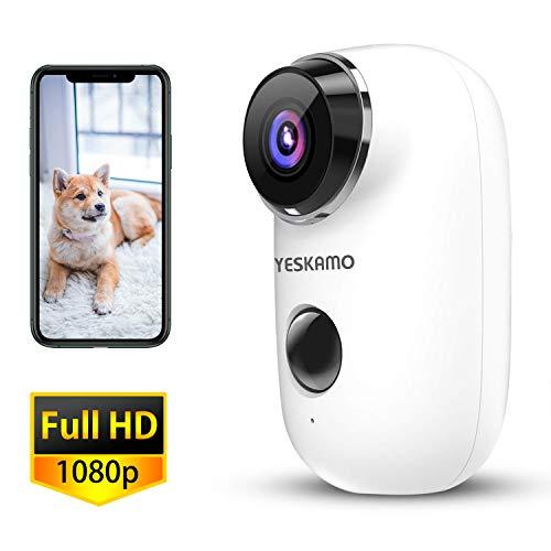 YESKAMO Cámara de Seguridad 1080P con Audio Bidireccional, Cámara de Vigilancia WiFi IP Inalámbrica con Batería Recargable con Alerta Inteligente Visualización Remota por Teléfono