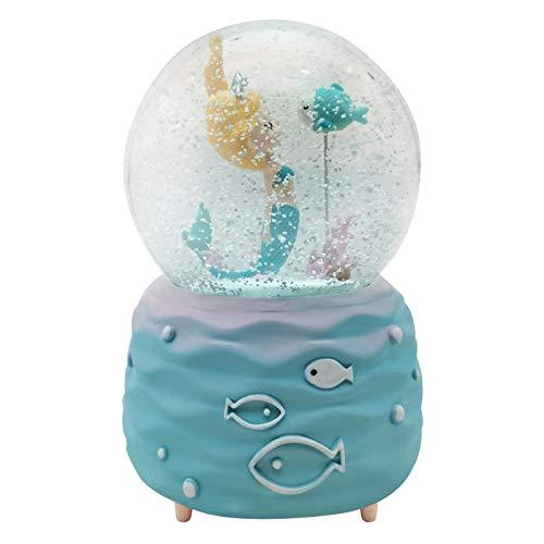 Jannyshop Globo de Nieve de Sirena Caja de Música de Bola de Cristal con Luces de Colores Globo de Nieve de Cristal de Agua Regalos para Navidad Cumpleaños Día de San Valentín