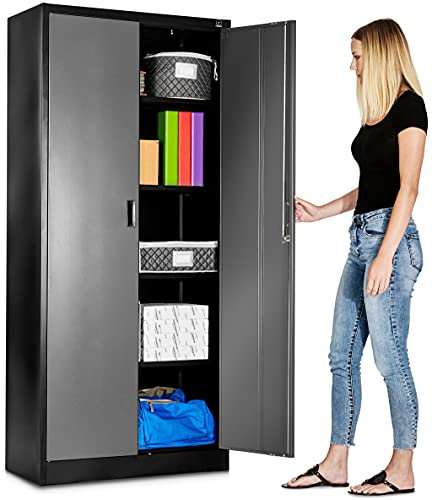 Fedmax Metal Garage Storage Cabinet - 71-inch Tall, Large Industrial Locker with Adjustable Shelves & Locking Doors - Steel Utility Cabinets for Office, Classroom, Pantry - Black/Grey