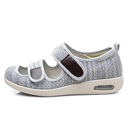 CCSSWW Calzado para La Artritis Edema Pies Hinchados,Zapatos DiabéTicos para Hombre Ajustable-Gris Claro_40,CóModa Artritis Edema Zapatos Hinchados