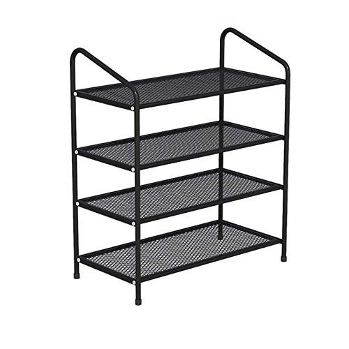 Shoe Rack 4-Tier Shoe Rack Metal Storage Shelves Hold Up to 12~15 Pairs of Shoes for Living Room Entryway Hallway and Cloakroom Shoe Tower Shelf (Color : Black)