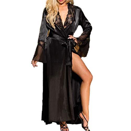 Tofox Damen Sexy Dessous Spitze Kleid Negligee Kimono Robe Set Durchsichtig Unterwäsche Nachtwäsche Langes Spitzenkleid Cardigan Cover up