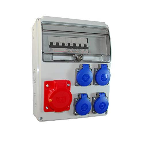 Baustromverteiler/Wandverteiler 4 x Schuko 230V/16A & 1 x CEE 16A/400V verdrahtet + LEGRAND LS