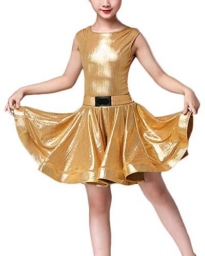 Kinder Mädchen Tanzkleid Ballett Rumba Samba Latin Kleid Röcke Dancewear Performance Kostüme Gold 120