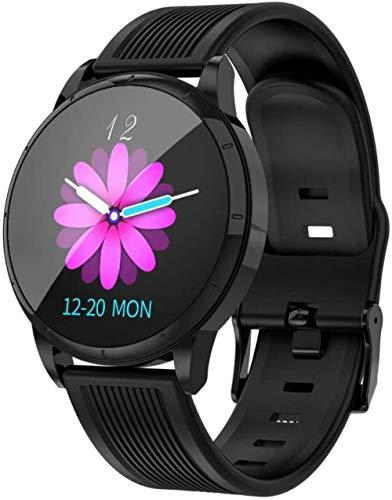 YSSJT Reloj inteligente para mujer, pulsera de frecuencia cardíaca y presión arterial, podómetro, recordatorio de ciclo de seguridad, silicona negra