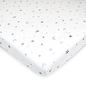 American Baby Company Printed 100% Natural Cotton Jersey Knit Fitted Portable/Mini-Crib Sheet, Grey Stars and Moon, Soft Breathable, for Boys and Girls, Pack of 1