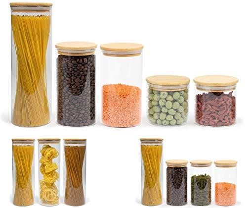 Elwin Neiles® ☀️ Vorratsglas mit Deckel [5er Set] - 100% luftdichte & stapelbare Glasbehälter - mottensichere Gläser - Vorratsdosen Glas