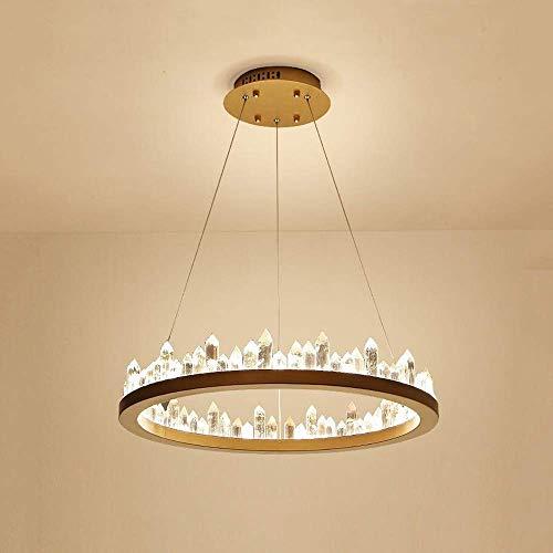 Lámpara postal moderna de cristal para salón, anillo LED, simple, moderno, restaurante, lámpara creativa, personalidad redonda, dormitorio Nordic (color: oro, tamaño: 60 cm)