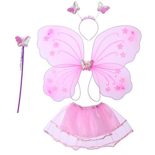 Luoem Costume da fata farfalla per bambina, con ali di farfalla e bacchetta magica, diadema da fata e gonna tutù, rosa, 4pezzi