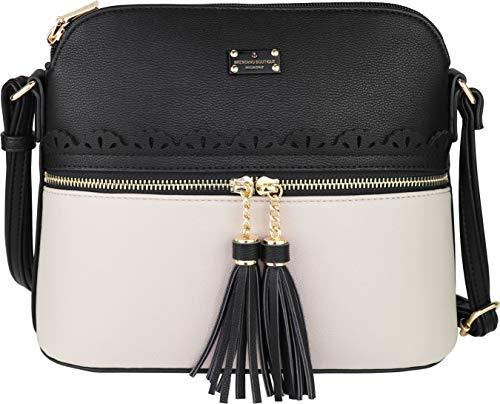 B BRENTANO Vegan Lightweight Crossbody Bag with Tassel Accents Medium (Black/Gray)