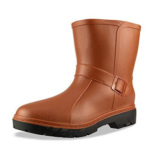 LINGZE Botas de jardín Anchas para becerros, Zapatos de Lluvia Impermeables de plástico ecológicos, Hebilla de Tobillo Ajustable