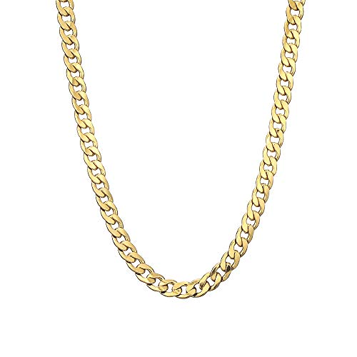 Sanglarst Gold Chain Necklace, 22 Inch Golden Ultra Luxury Looking Feeling Real Solid 14K Gold plated Curb Fake Neck Chain for Party Dancing (Gold 1CM)