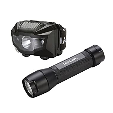 2pk Defiant 150 Lumen Flashlight & Headlamp w/ Red Light Setting, 6 AAA Batteries Included