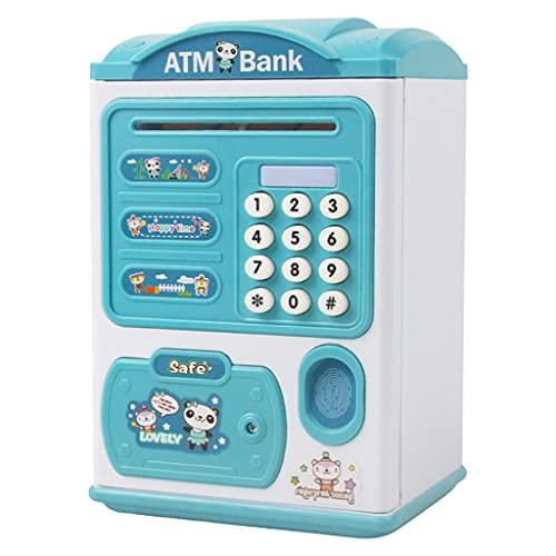F Fityle F ATM Bancos Monedas Mejores Regalos para Niños, Hucha Cajero Automatico, Hucha Contraseña de Huella Digital Doble Seguridad para Gestión Financiera - Azul