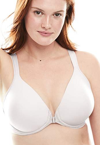 LEADING LADY Women's Front Closure Racer Back Bra Bra, Bright White, 48A