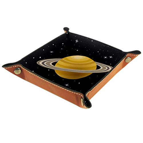 KAMEARI Leather Tray Space Rings Of Saturn Planets Key Phone Coin Box Cowhide leather Coin Tray Practical Storage Box for Wallets, Watches, Keys, Coins, Cell Phones and Office Equipment