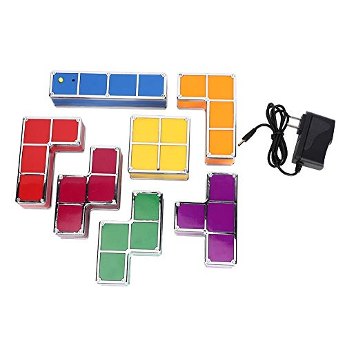 Ita Nest DIY Puzzle Stackable LED Colorful Light Desk Night Lamp Block Construction Game Decoration Tetris Splicing Night Light 100-240V(US Plug)