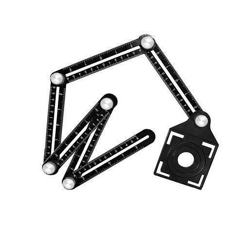 Meerhoekige meetliniaal - Zeszijdig aluminiumlegering sjabloon gereedschap met keramische tegel Punch Locator gat boren gids voor ontwerpers/bouwers/timmermans/Tilers/Craftsmen