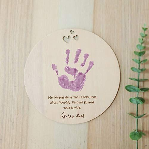 Recuerdo Madera Huella o Dibujo Bebé Día de la madre. Regalo para Mamá Primeriza. Recuerdo para Colgar en Madera circular con 20cm de diámetro. Regalo Día de la Madre Bebe Manualidades Original(Madre)