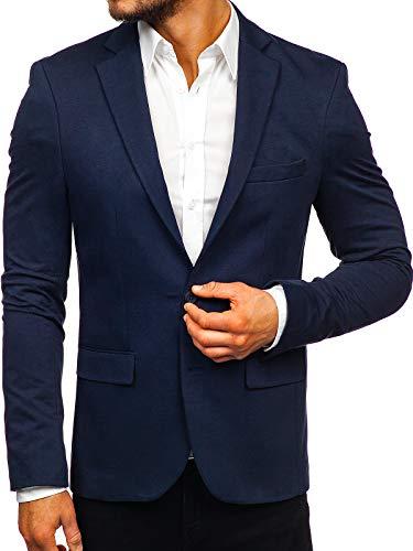 BOLF Herren Sakko Sweatjacke Slim Fit Blazer Anzug RWX SR2003 Dunkelblau M/50 [4D4]