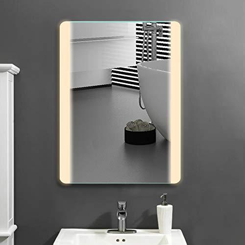 Janboe 600 x 800 mm Badezimmerspiegel mit LED-Leuchten Vertikaler Einbau Energiesparender Wandspiegel