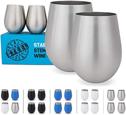Drinking Glasses Stainless Steel Cups Goblets Set Of 4 Large Stemless