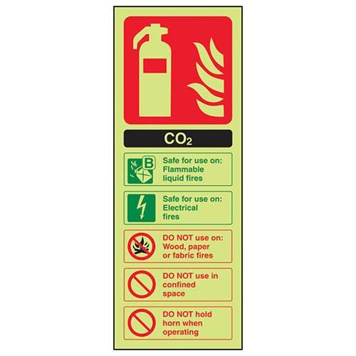 VSafety Glow In The Dark Carbon Dioxide Co2 Id Brandblusser - 100mm x 280mm - Zelfklevende Vinyl