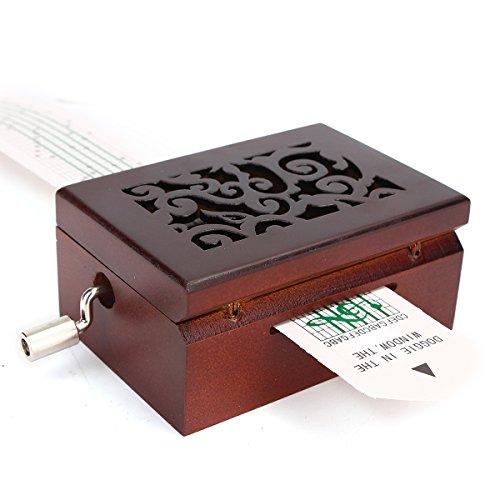 Caja de música de madera para manivela con perforador de agujeros, 30 cintas de papel (14 cintas vacías + 16 cintas de música), caja de música para niños