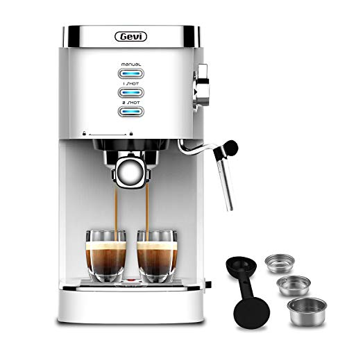 Gevi Espresso Machines 20 Bar Fast Heating Automatic Cappuccino Coffee Maker with Foaming Milk Frother Wand for Espresso, Latte Macchiato, 1.2L Removable Water Tank, 1350W, White
