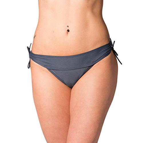 Aquarti Damen Bikinihose Hipster mit seitlichen Schnürchen, Farbe: Graphit, Größe: 36