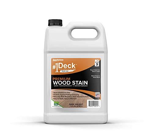#1 Deck Premium Semi-Transparent Wood Stain for Decks, Fences, & Siding - 1 Gallon (Dark Walnut)