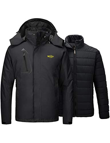 Wantdo Men's Ski Jacket 3 in 1 Waterproof Snow Coat Black Large