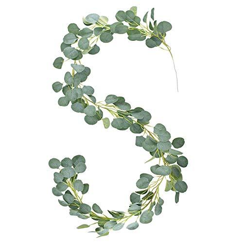 E-Bestar - Ghirlanda di eucalipto artificiale, pianta verde, foglie artificiali, per matrimonio, casa, decorazione da parete