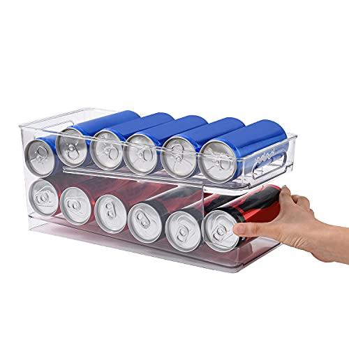 Dispensador de latas de cocina de pie, organizador de almacenamiento para alimentos enlatados, sopas, soda y soporte vertical compacto transparente