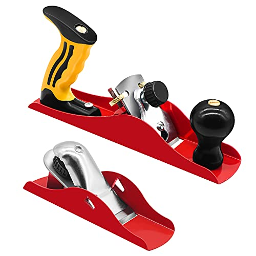 Wood Planer, 2 Set 9.25 Inch & 6.3 Inch Hand Planer for Woodworking, Fathers Day Bench Plane Adjustable Control The Depth of Hand Plane, Woodworking Tools Big and Small Size